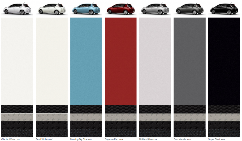 Nissan Leaf 2015 colors